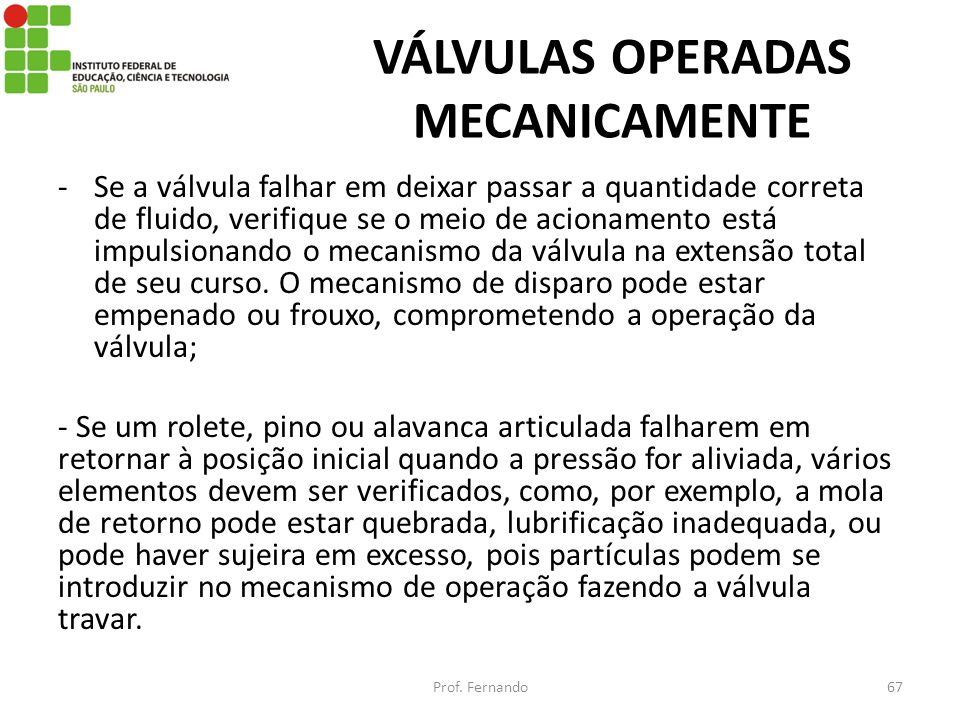 VÁLVULAS OPERADAS MECANICAMENTE