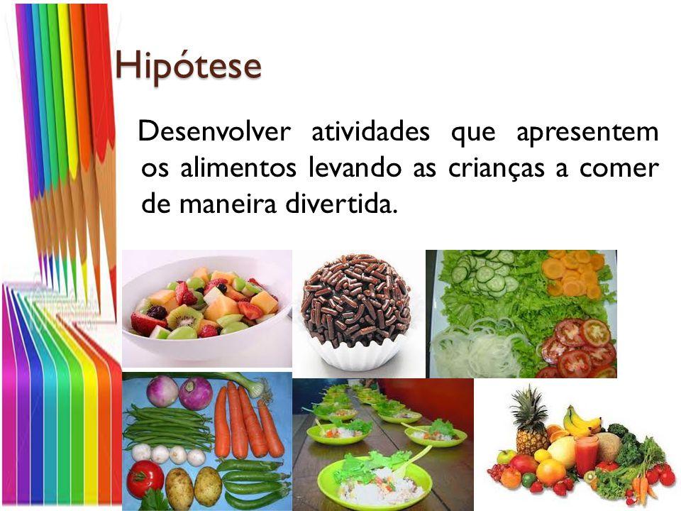 Hipótese Desenvolver atividades que apresentem os alimentos levando as crianças a comer de maneira divertida.
