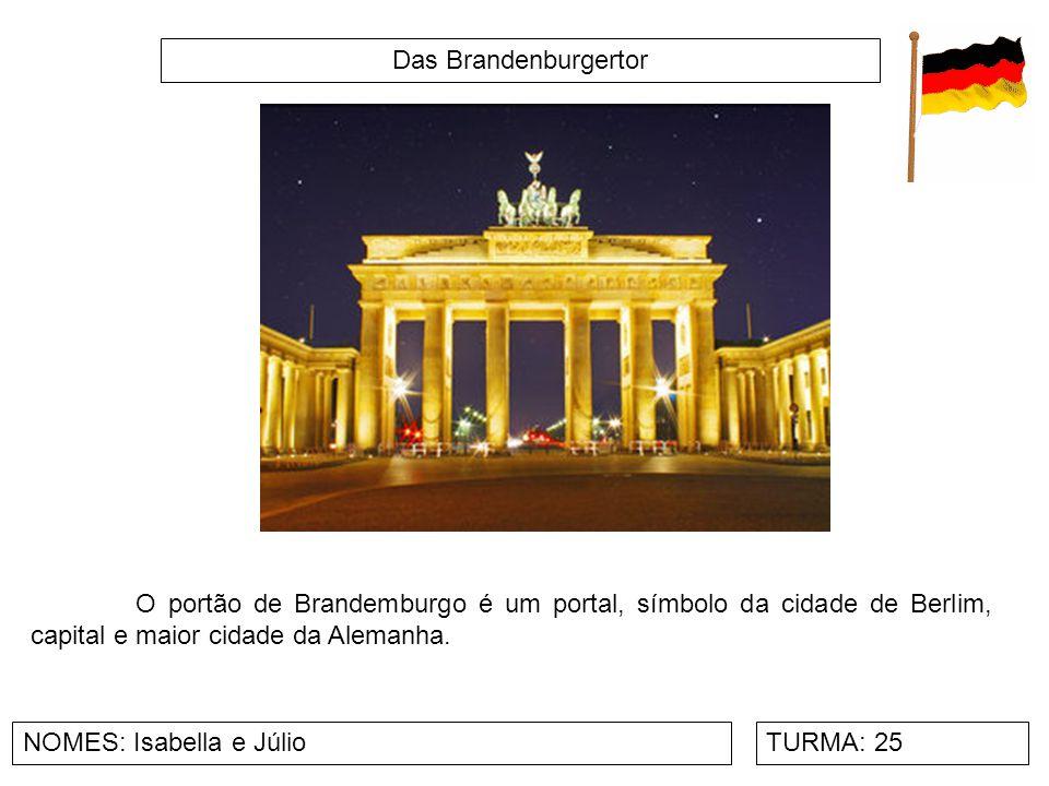 Das Brandenburgertor O portão de Brandemburgo é um portal, símbolo da cidade de Berlim, capital e maior cidade da Alemanha.