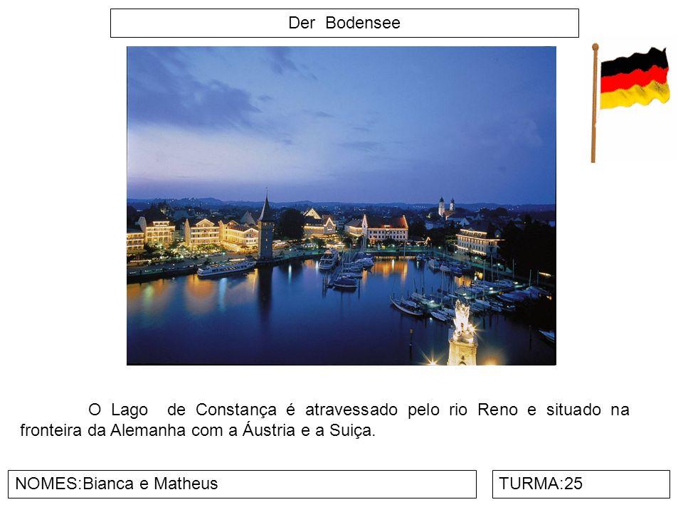 Der Bodensee O Lago de Constança é atravessado pelo rio Reno e situado na fronteira da Alemanha com a Áustria e a Suiça.