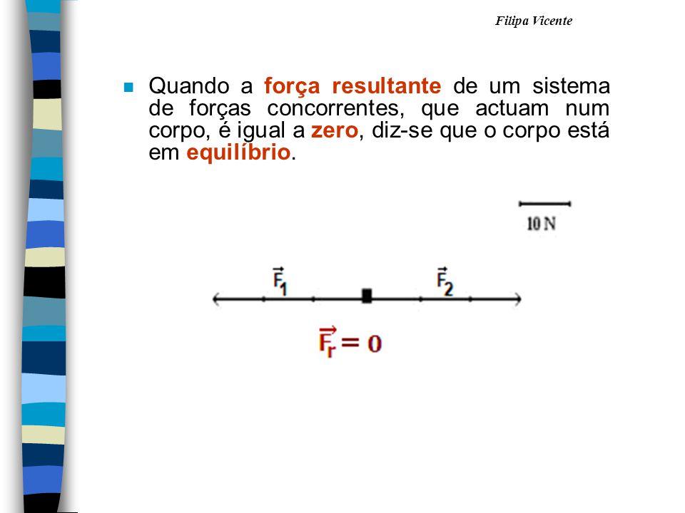 Quando a força resultante de um sistema de forças concorrentes, que actuam num corpo, é igual a zero, diz-se que o corpo está em equilíbrio.