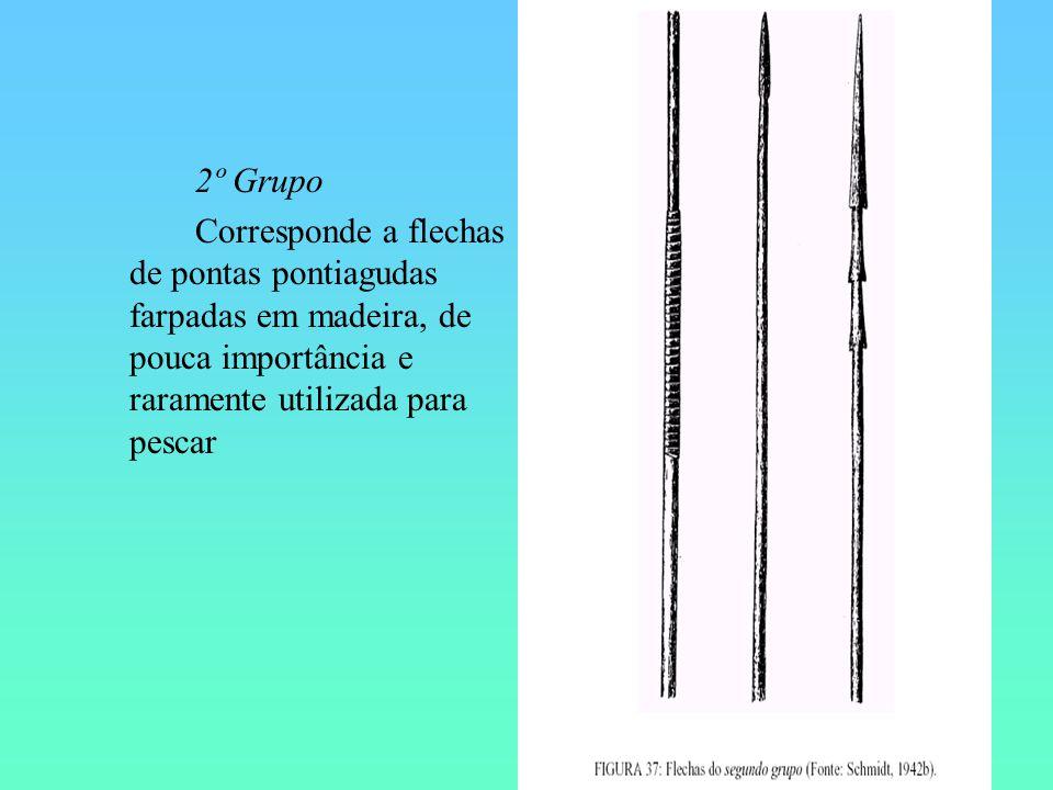 2º Grupo Corresponde a flechas de pontas pontiagudas farpadas em madeira, de pouca importância e raramente utilizada para pescar.