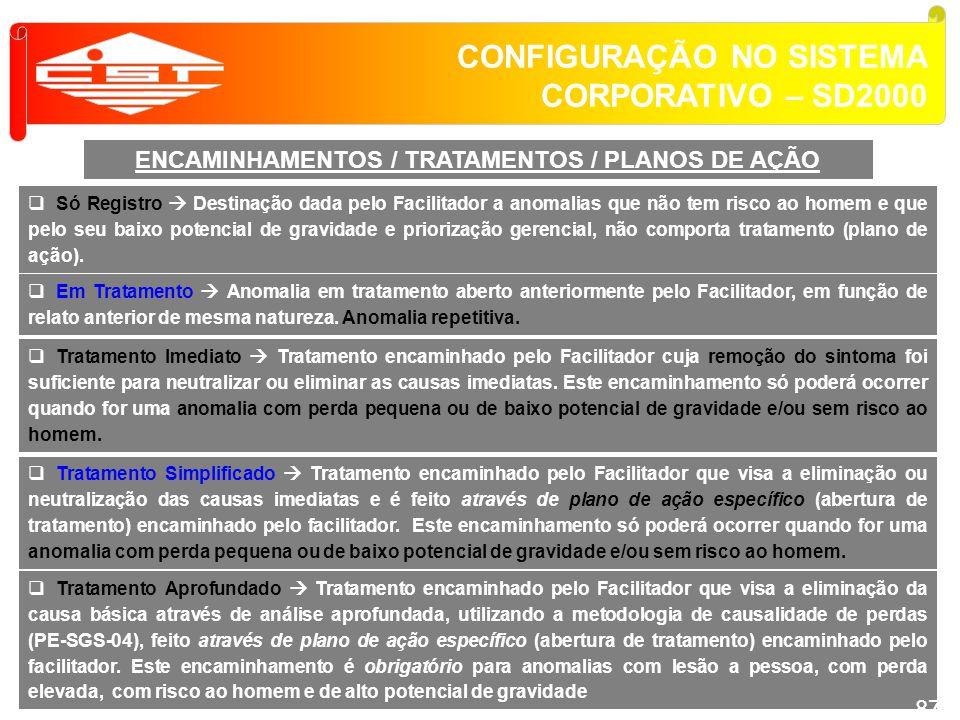 ENCAMINHAMENTOS / TRATAMENTOS / PLANOS DE AÇÃO