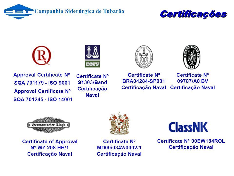 Certificações Companhia Siderúrgica de Tubarão Approval Certificate Nº