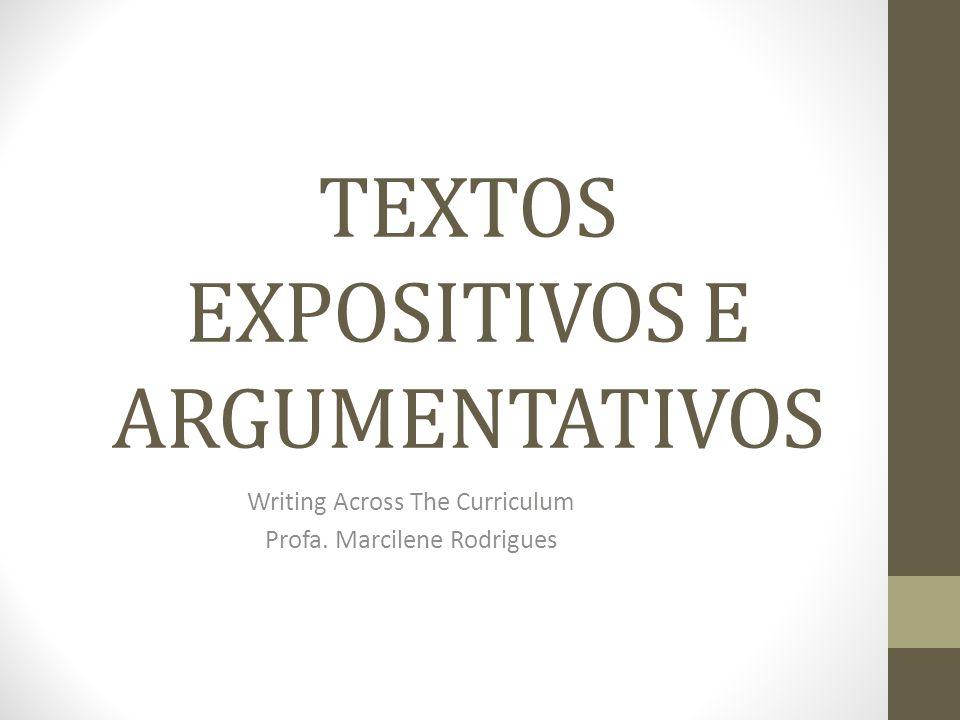 TEXTOS EXPOSITIVOS E ARGUMENTATIVOS
