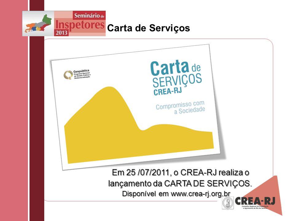 Carta de Serviços Em 25 /07/2011, o CREA-RJ realiza o lançamento da CARTA DE SERVIÇOS.
