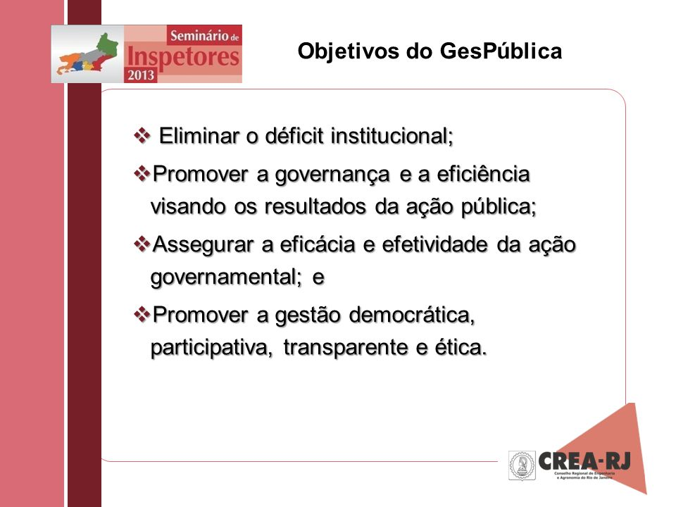 Objetivos do GesPública