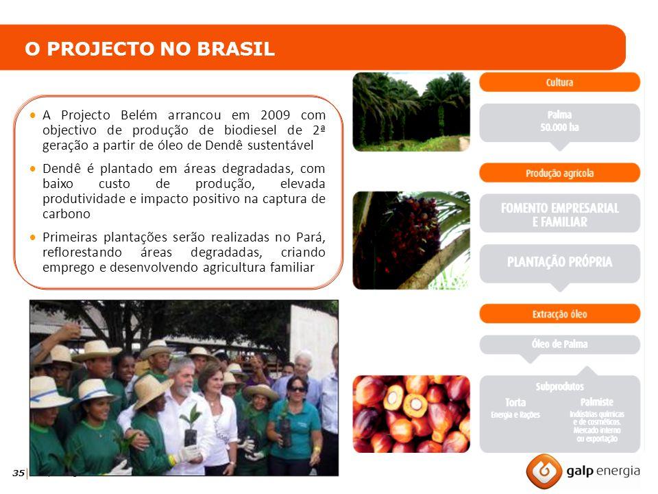 O PROJECTO NO BRASIL A Projecto Belém arrancou em 2009 com objectivo de produção de biodiesel de 2ª geração a partir de óleo de Dendê sustentável.