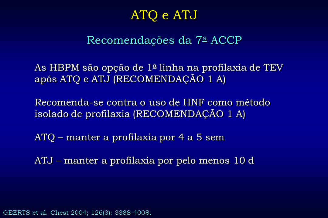 Recomendações da 7a ACCP