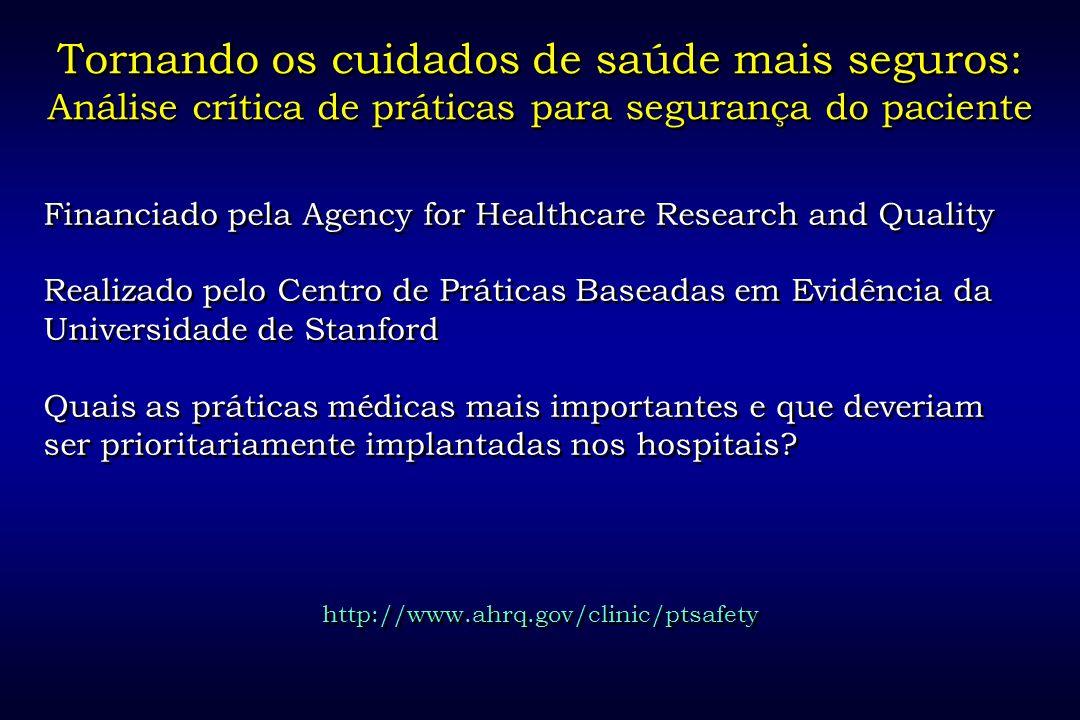 Tornando os cuidados de saúde mais seguros: Análise crítica de práticas para segurança do paciente