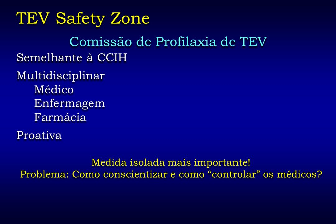 TEV Safety Zone Comissão de Profilaxia de TEV Semelhante à CCIH