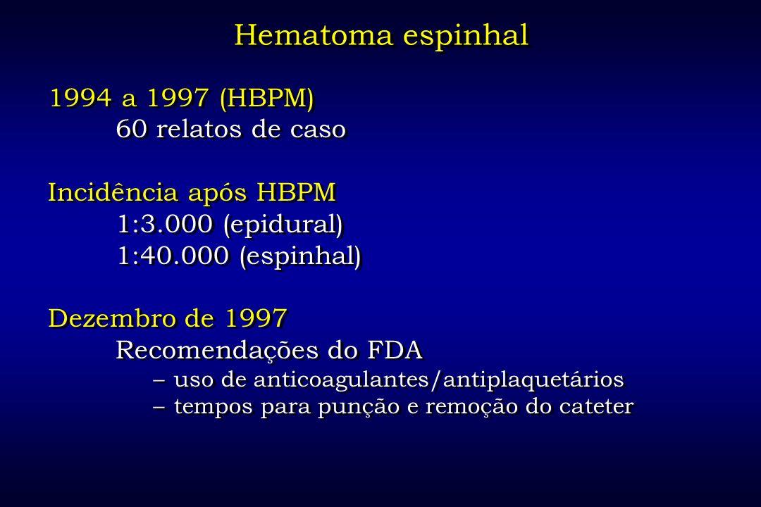 Hematoma espinhal 1994 a 1997 (HBPM) 60 relatos de caso