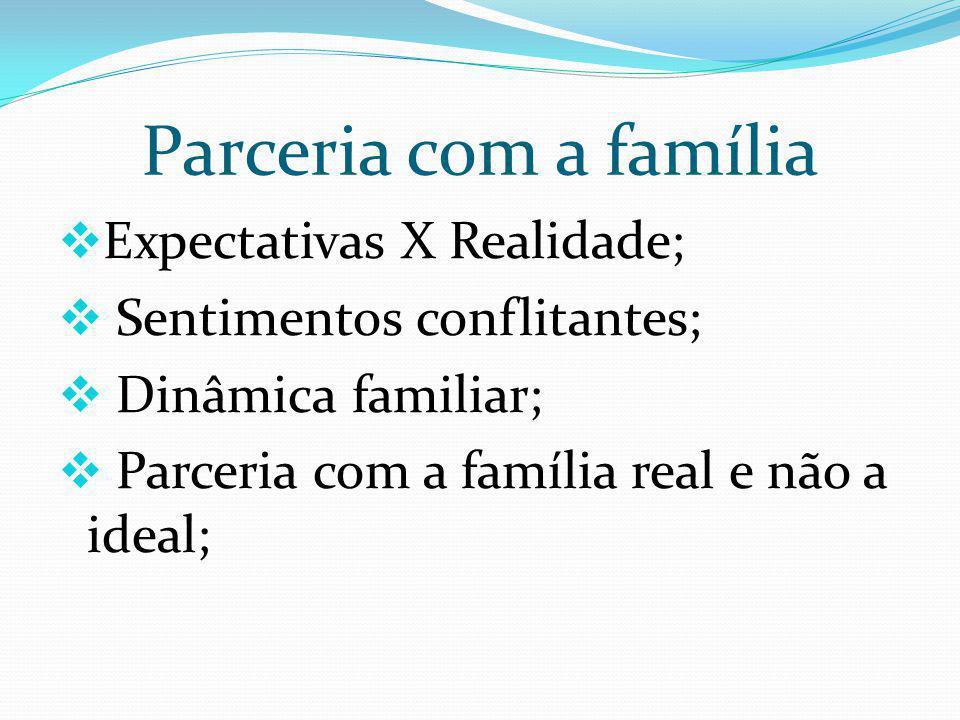 Parceria com a família Expectativas X Realidade;