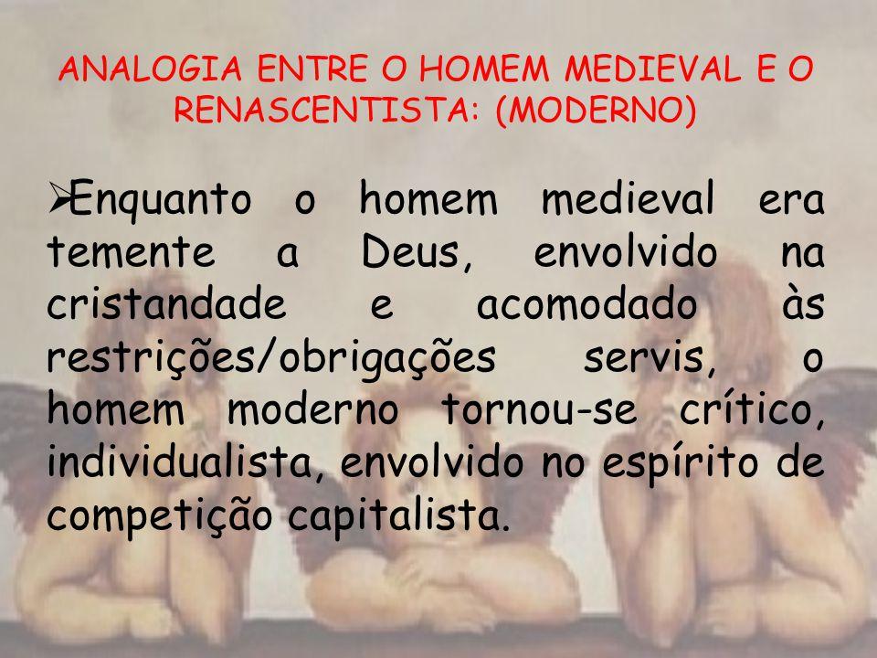 ANALOGIA ENTRE O HOMEM MEDIEVAL E O RENASCENTISTA: (MODERNO)
