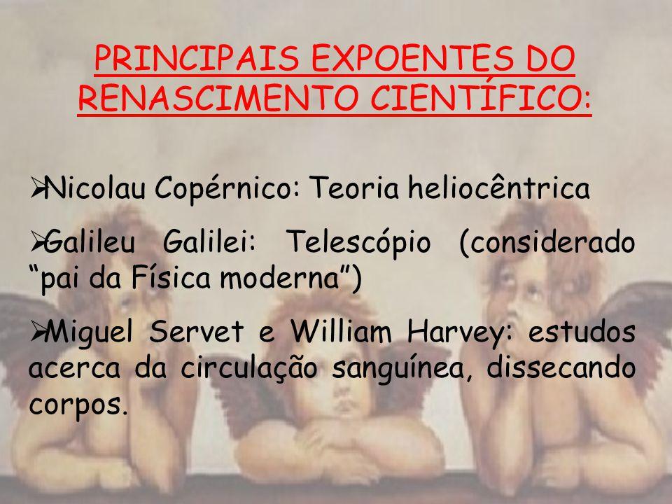 PRINCIPAIS EXPOENTES DO RENASCIMENTO CIENTÍFICO: