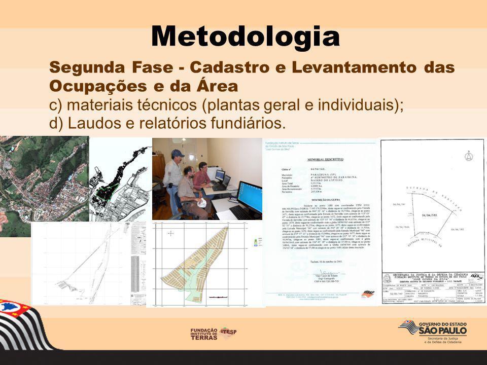 Metodologia Segunda Fase - Cadastro e Levantamento das Ocupações e da Área. c) materiais técnicos (plantas geral e individuais);