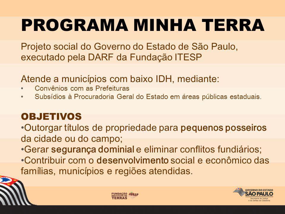 PROGRAMA MINHA TERRA Projeto social do Governo do Estado de São Paulo, executado pela DARF da Fundação ITESP.