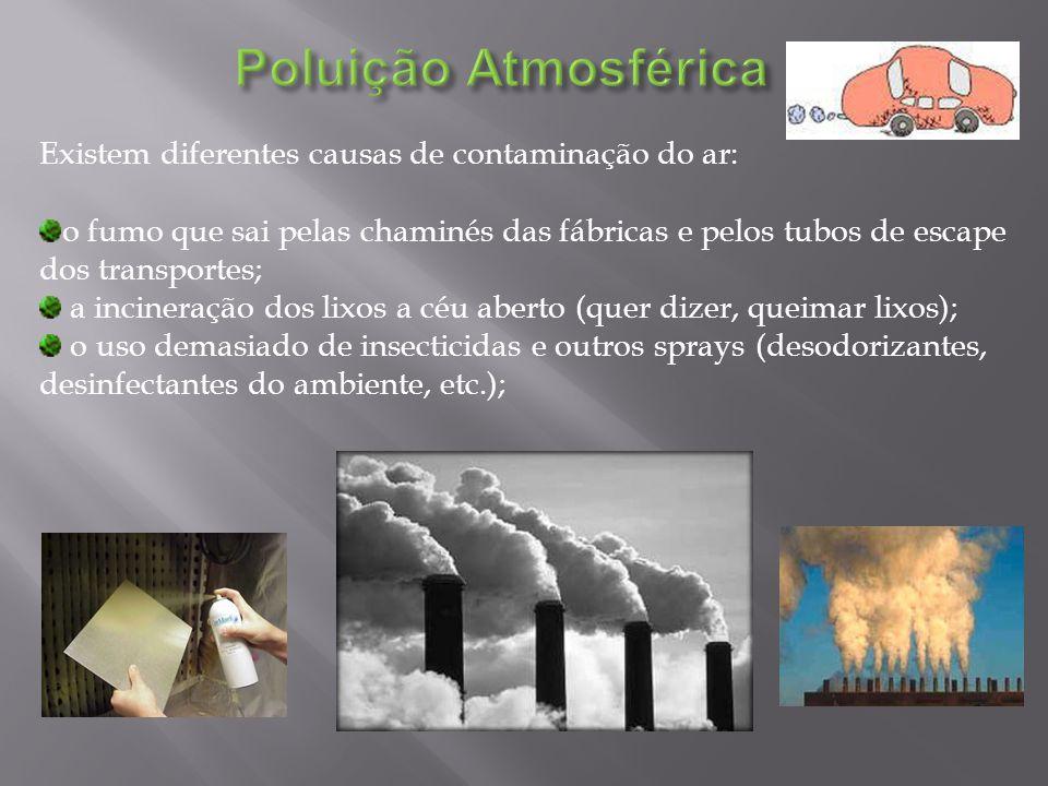 Existem diferentes causas de contaminação do ar: