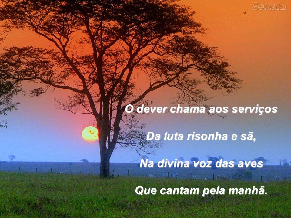 O dever chama aos serviços Da luta risonha e sã, Na divina voz das aves Que cantam pela manhã.