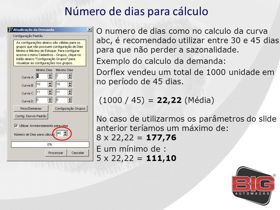 Número de dias para cálculo