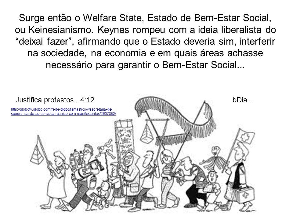Surge então o Welfare State, Estado de Bem-Estar Social, ou Keinesianismo. Keynes rompeu com a ideia liberalista do deixai fazer , afirmando que o Estado deveria sim, interferir na sociedade, na economia e em quais áreas achasse necessário para garantir o Bem-Estar Social...