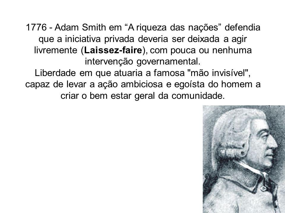 1776 - Adam Smith em A riqueza das nações defendia que a iniciativa privada deveria ser deixada a agir livremente (Laissez-faire), com pouca ou nenhuma intervenção governamental.