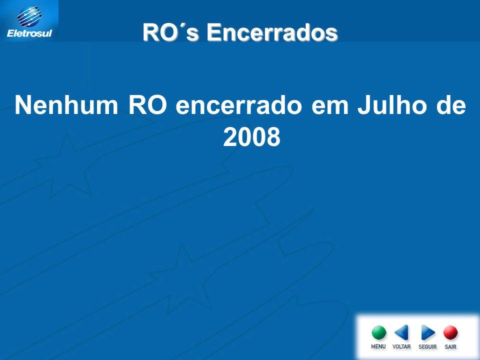 Nenhum RO encerrado em Julho de 2008