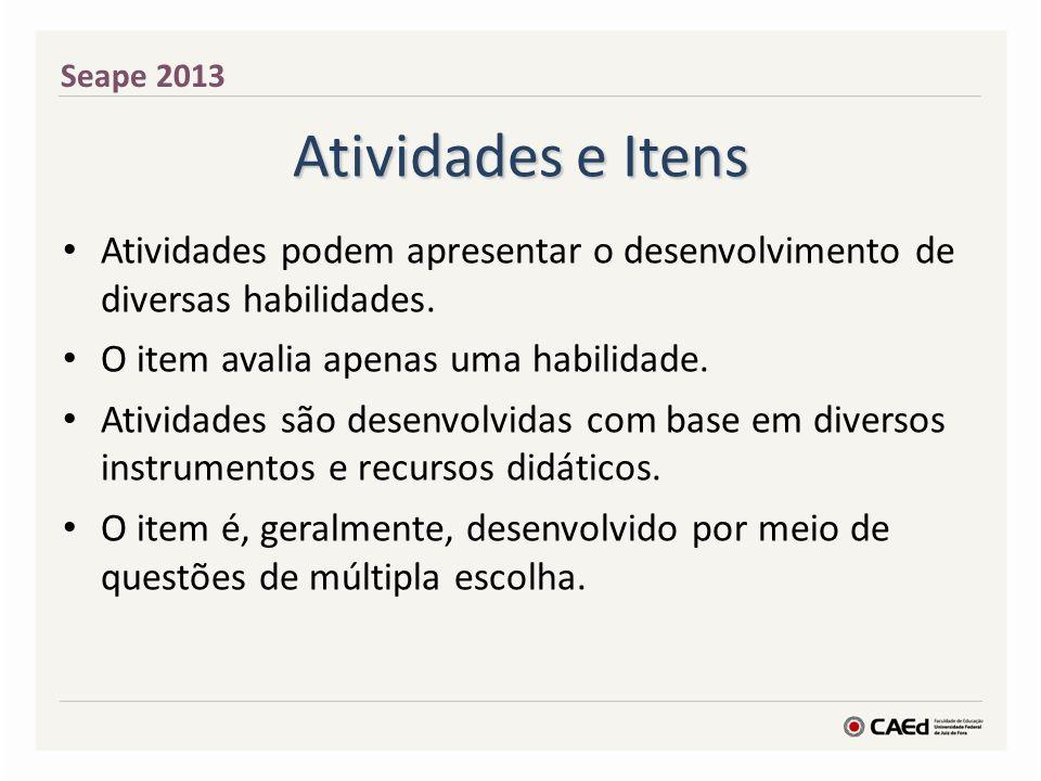 Seape 2013 Atividades e Itens. Atividades podem apresentar o desenvolvimento de diversas habilidades.
