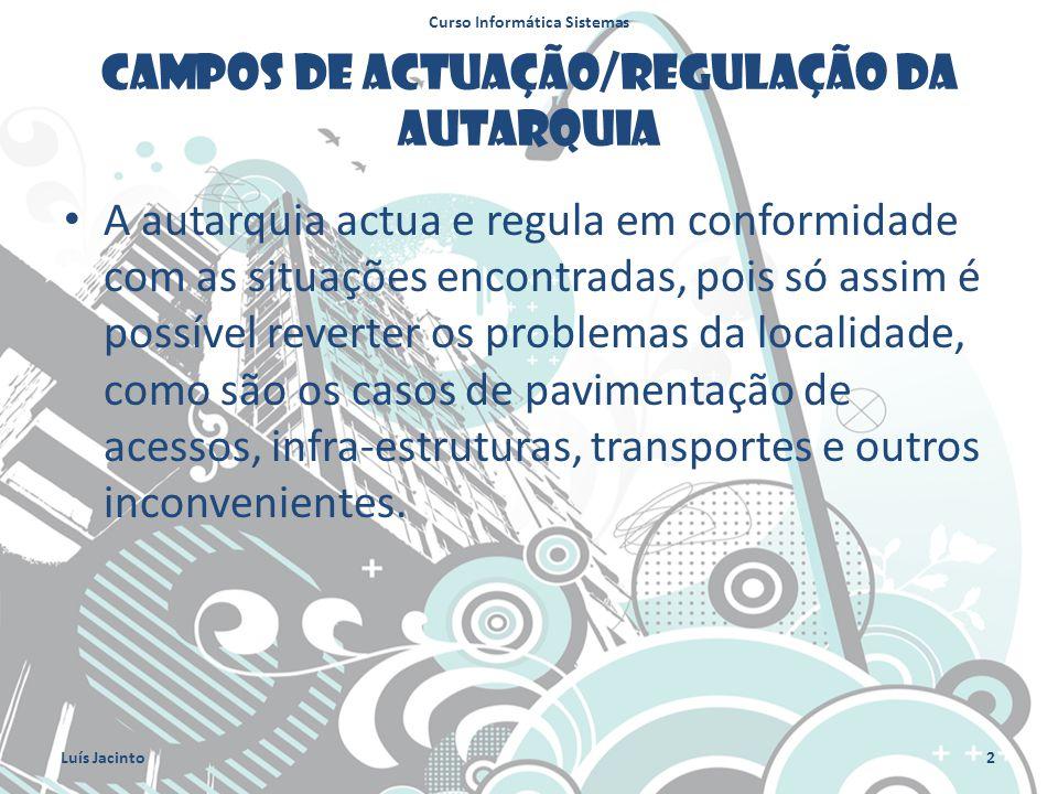 Campos de actuação/regulação da Autarquia