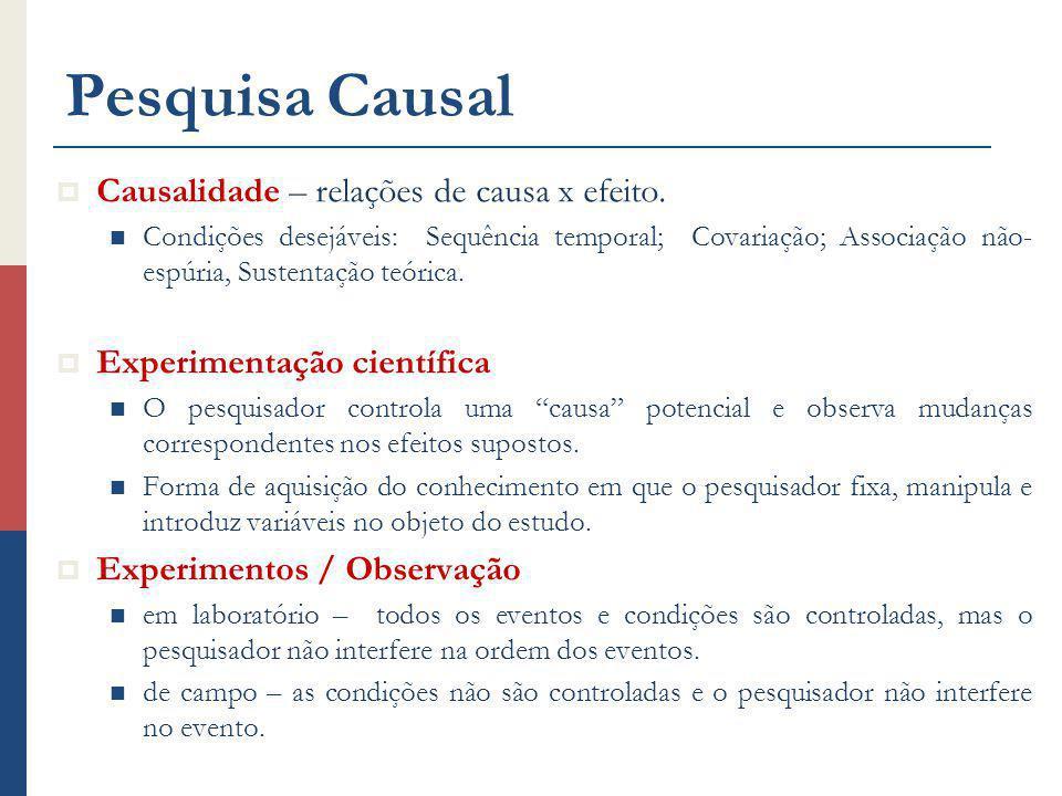 Pesquisa Causal Causalidade – relações de causa x efeito.