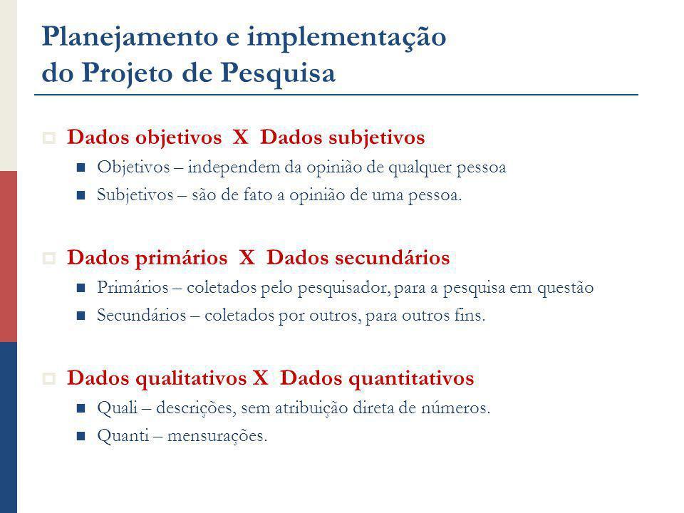 Planejamento e implementação do Projeto de Pesquisa