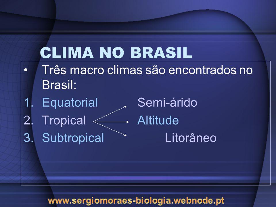 CLIMA NO BRASIL Três macro climas são encontrados no Brasil:
