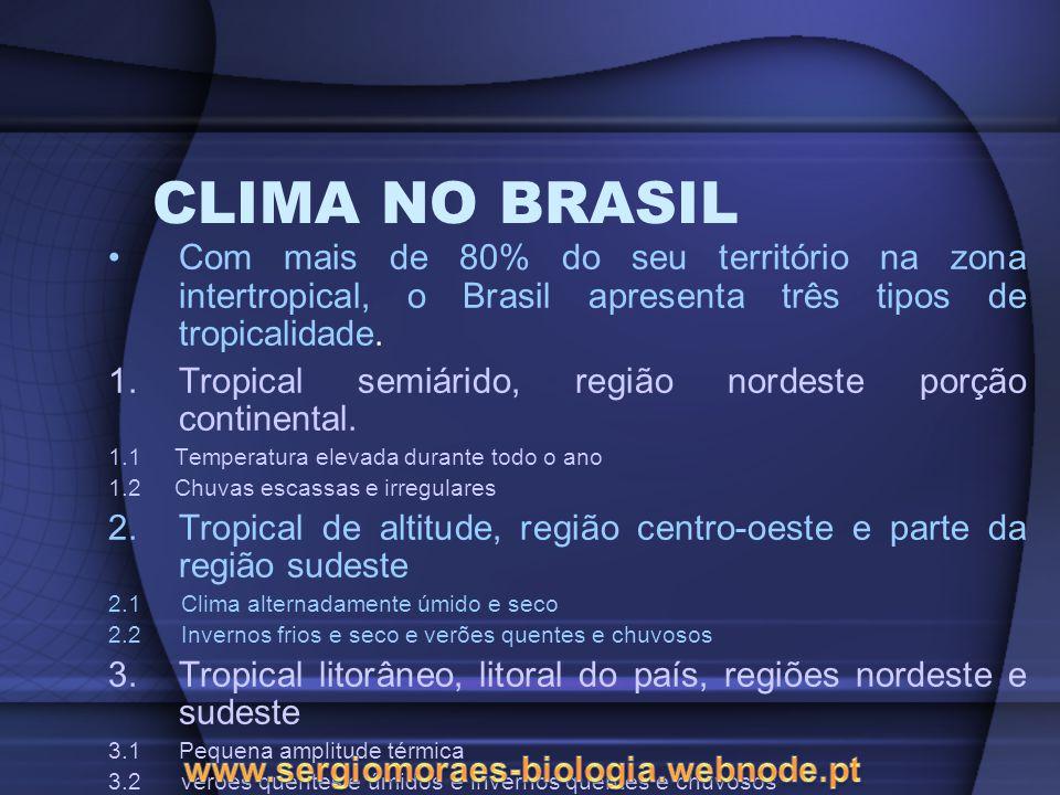 CLIMA NO BRASIL Com mais de 80% do seu território na zona intertropical, o Brasil apresenta três tipos de tropicalidade.