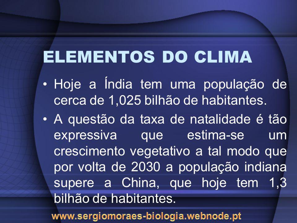 ELEMENTOS DO CLIMA Hoje a Índia tem uma população de cerca de 1,025 bilhão de habitantes.