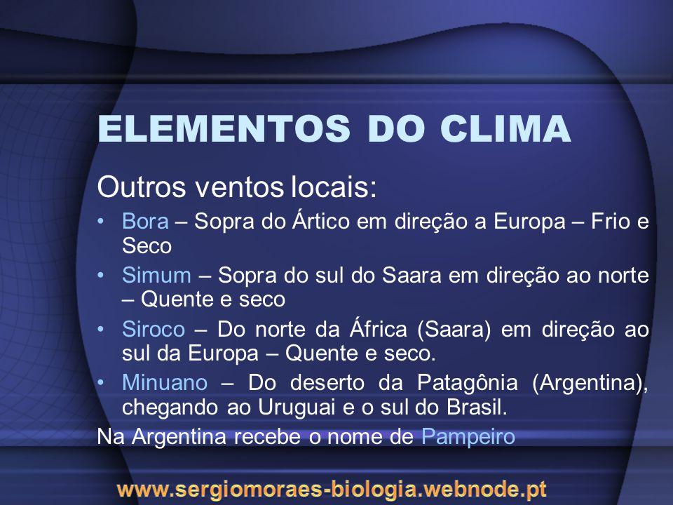 ELEMENTOS DO CLIMA Outros ventos locais: