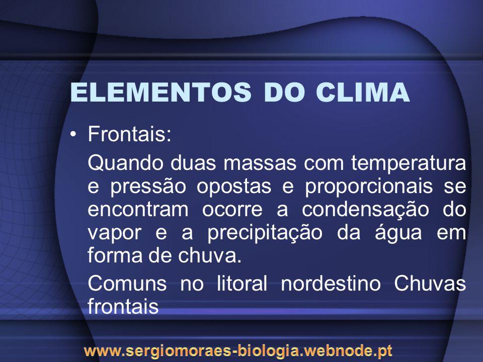 ELEMENTOS DO CLIMA Frontais: