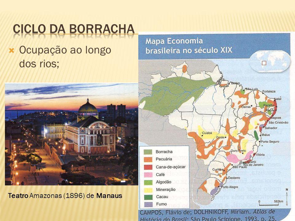 Ciclo da Borracha Ocupação ao longo dos rios;