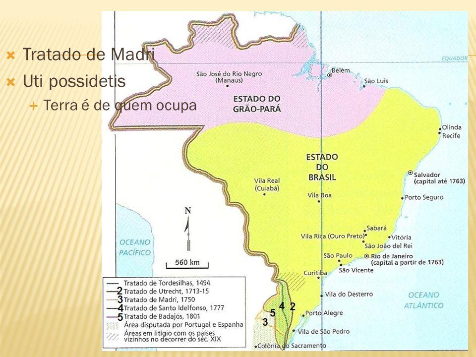 Tratado de Madri Uti possidetis Terra é de quem ocupa