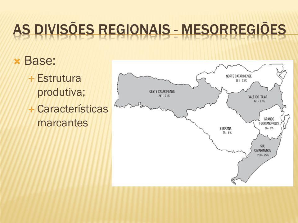 As divisões regionais - Mesorregiões