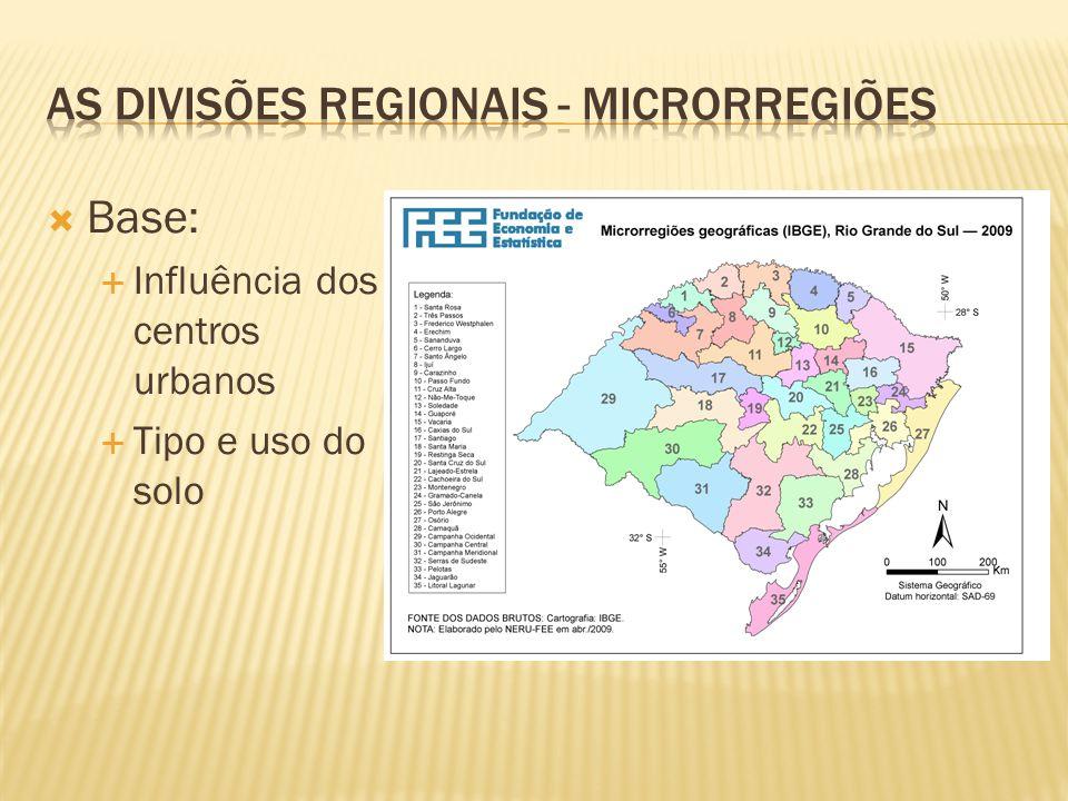 As divisões regionais - microrregiões