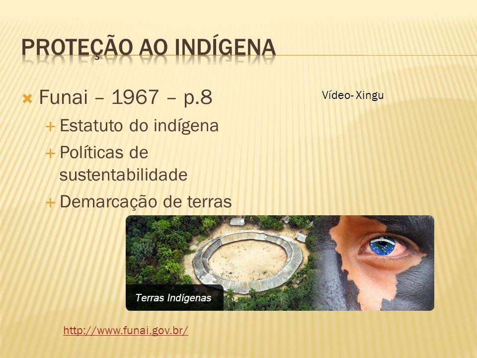 Proteção ao indígena Funai – 1967 – p.8 Estatuto do indígena