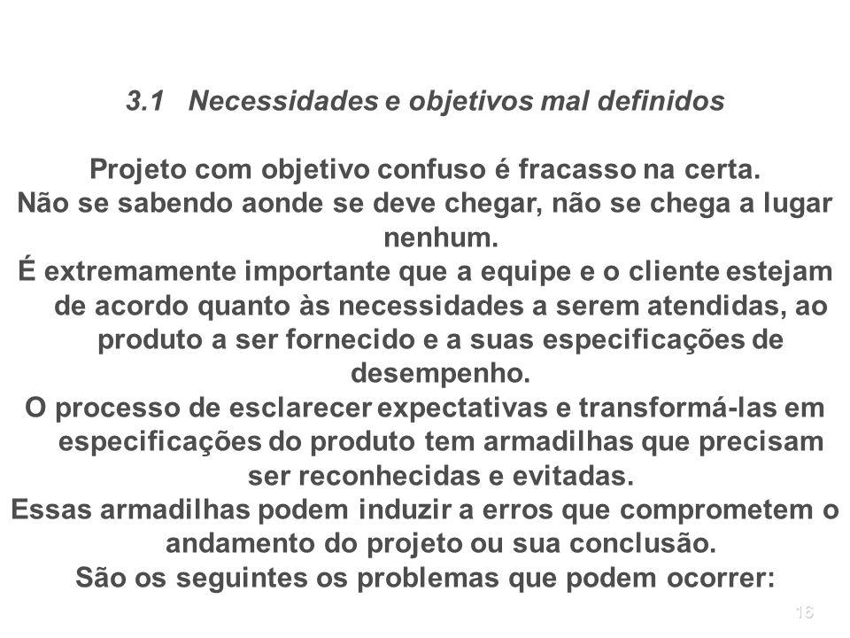 3.1 Necessidades e objetivos mal definidos