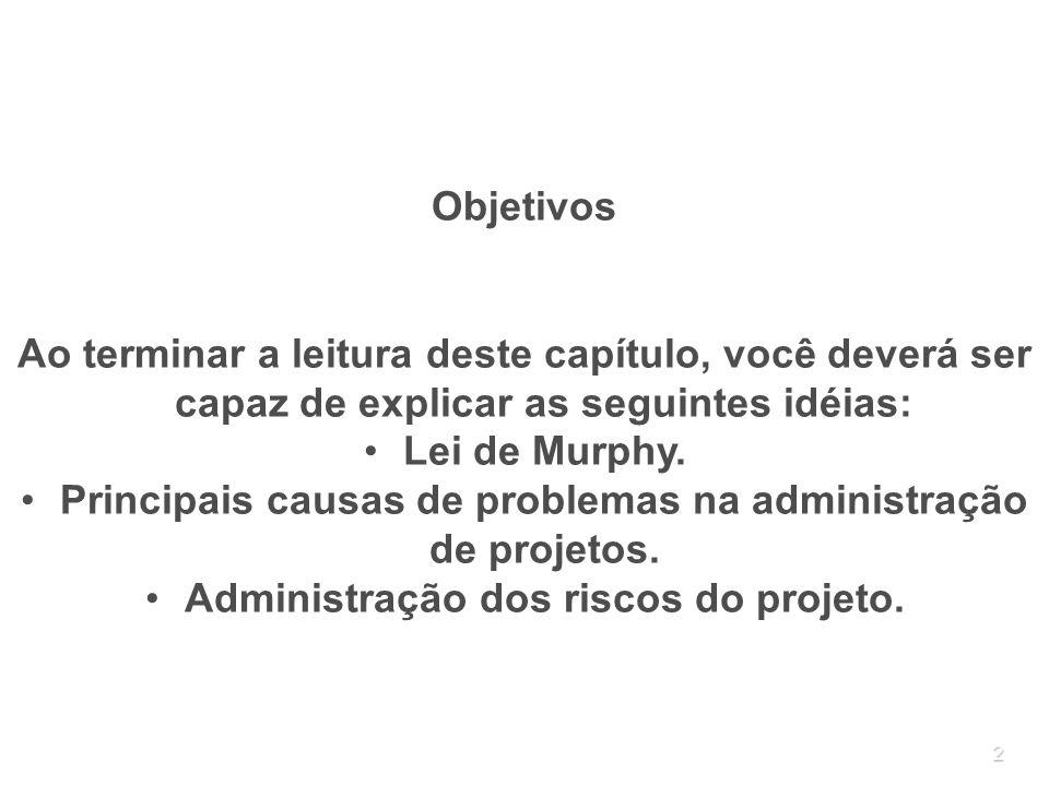 Principais causas de problemas na administração de projetos.