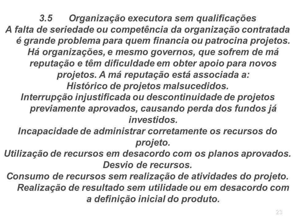 3.5 Organização executora sem qualificações