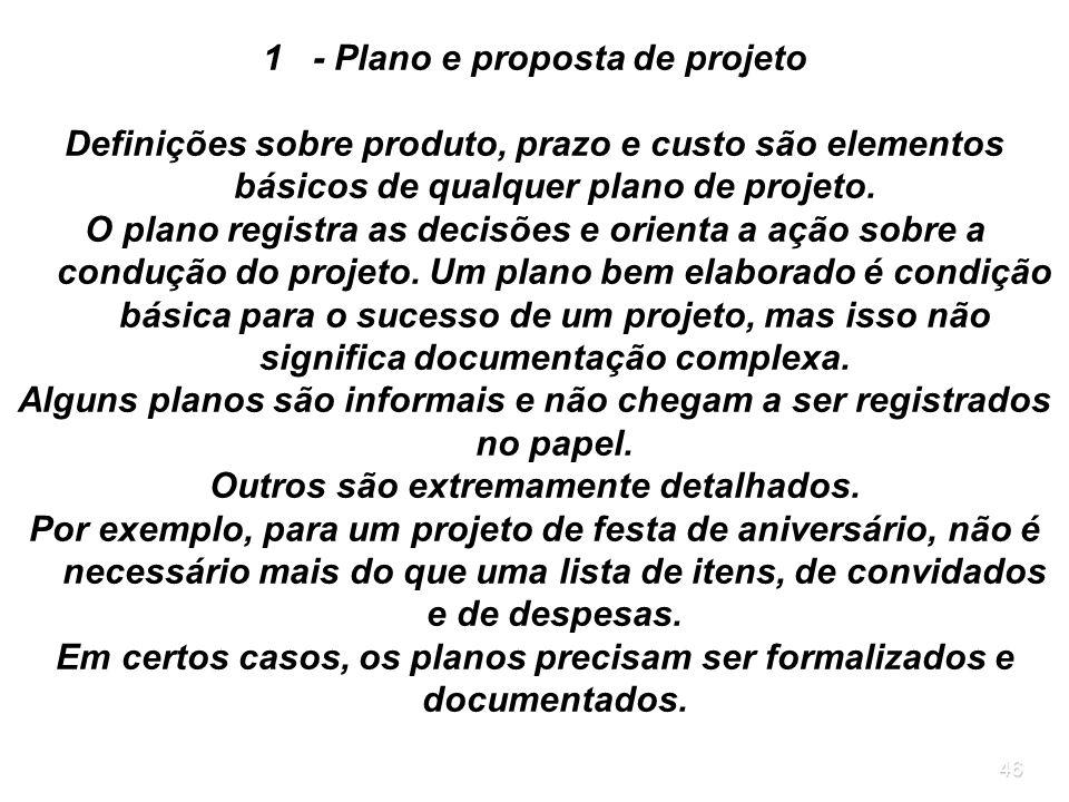 - Plano e proposta de projeto