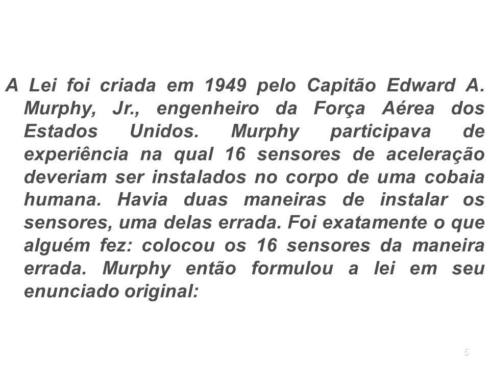 A Lei foi criada em 1949 pelo Capitão Edward A. Murphy, Jr