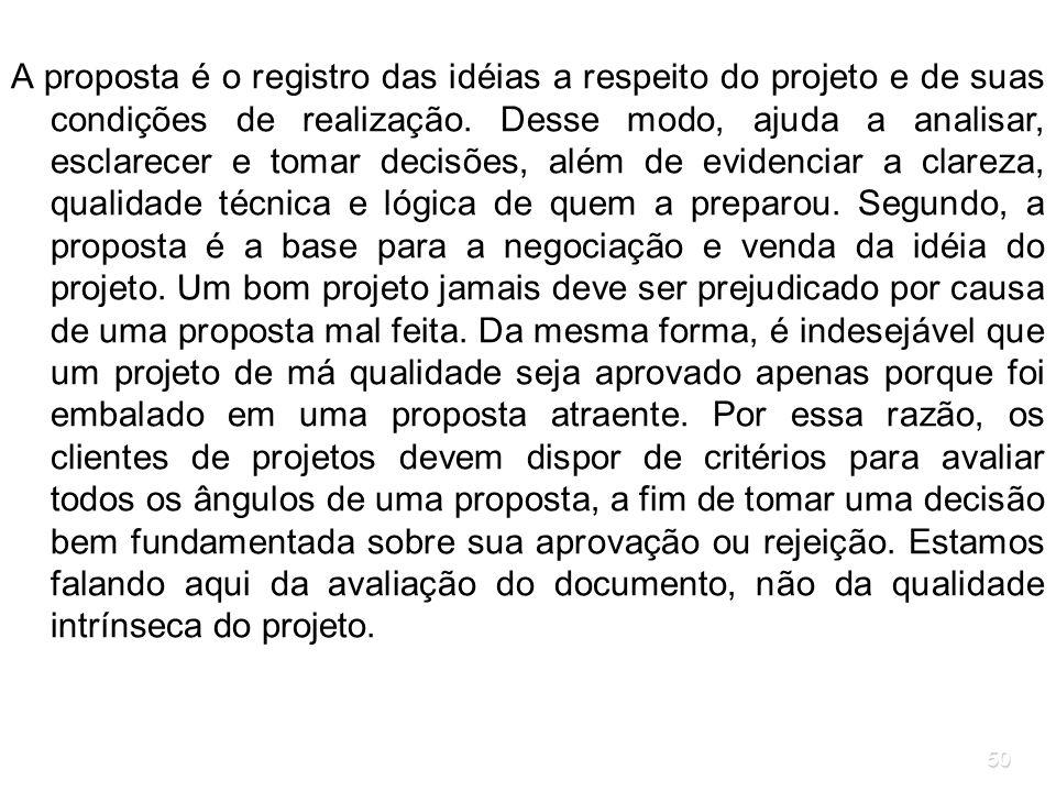 A proposta é o registro das idéias a respeito do projeto e de suas condições de realização.