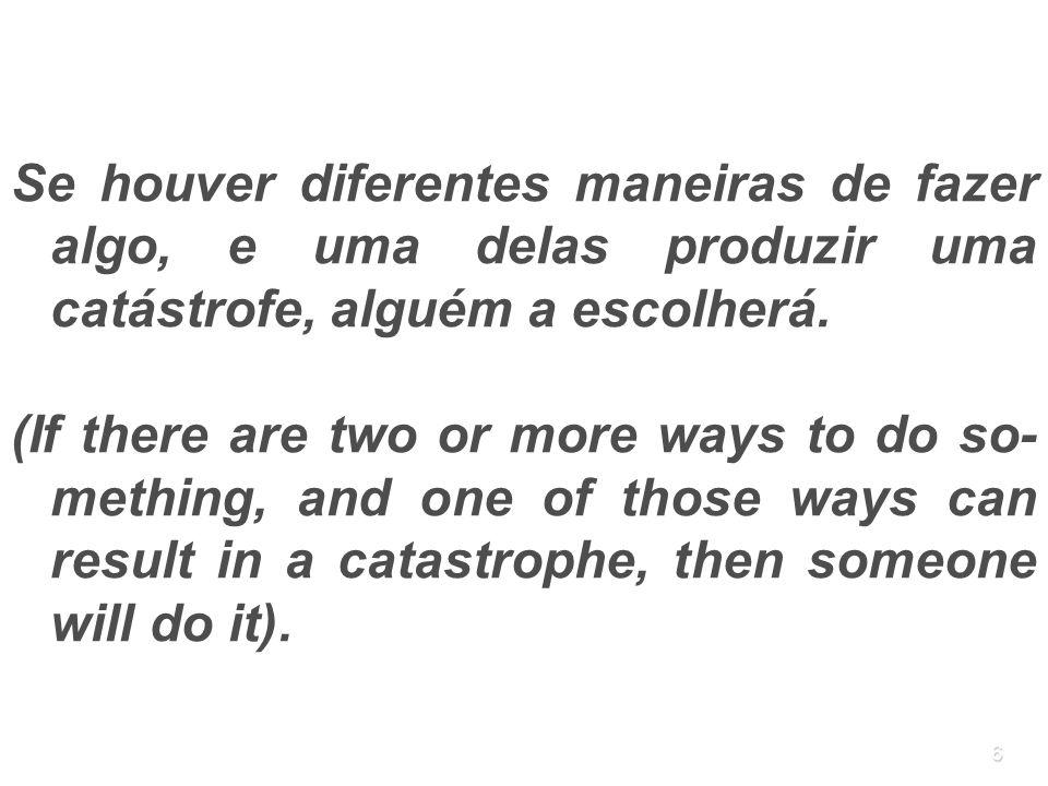 Se houver diferentes maneiras de fazer algo, e uma delas produzir uma catástrofe, alguém a escolherá.