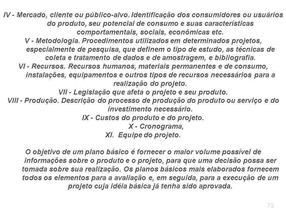 VII - Legislação que afeta o projeto e seu produto.