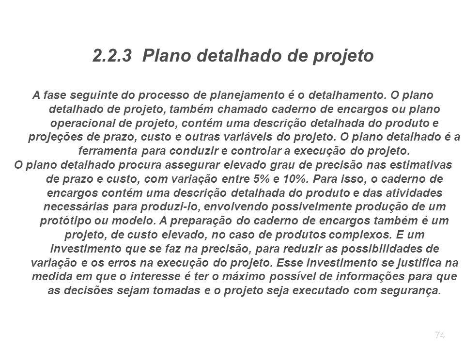 2.2.3 Plano detalhado de projeto